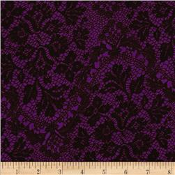 Chiffon Print Lace Purple/Black