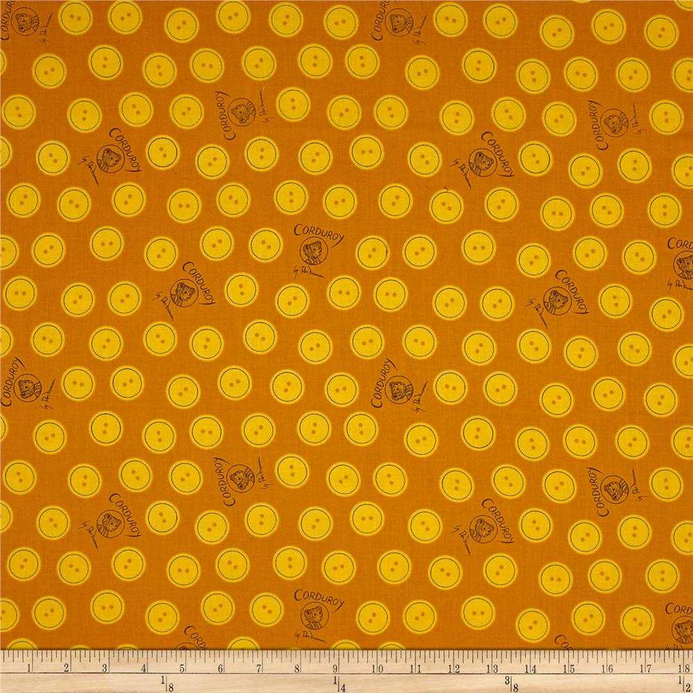 Cloud 9 Orangics Corduroy Bear Buttons Yellow