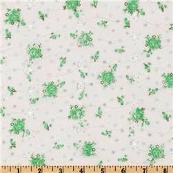 Floral Eyelet Mint Fabric