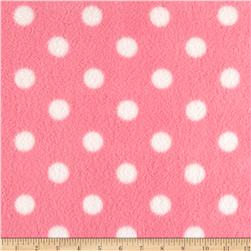 Fleece Print Polka Dots Pink/White