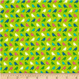 Irving Street Flannel Birds Green