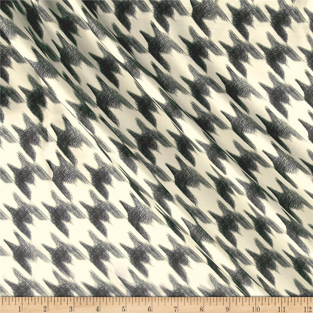 Italian Designer Silk Charmeuse Houndstooth Black/White Fabric