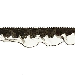 "1"" Stretch Sequin Organza Ruffle Trim Black"