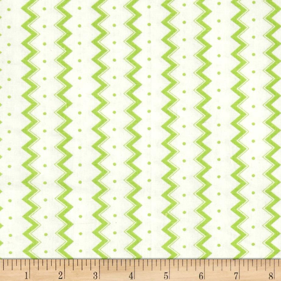 Dots and More Zig Zags & Dots White/Lime