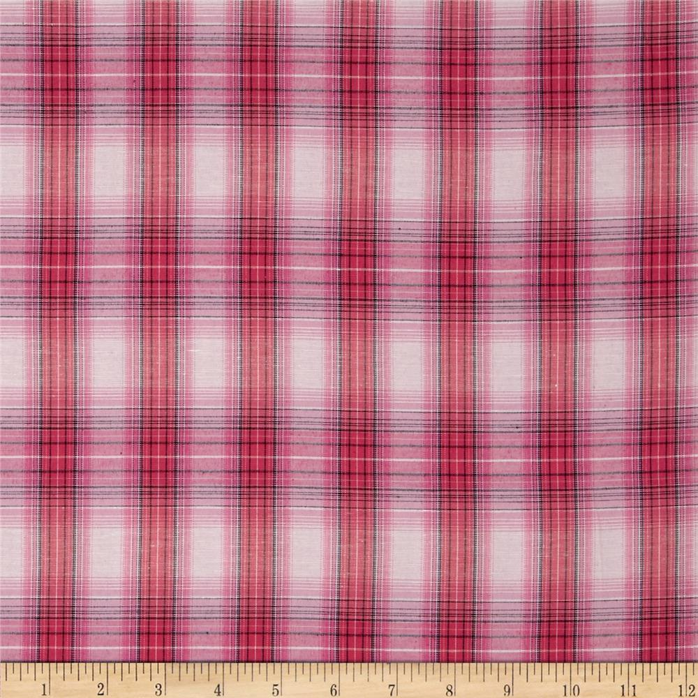 Stretch Yarn Dyed Plaid Shirting Pink/Off White