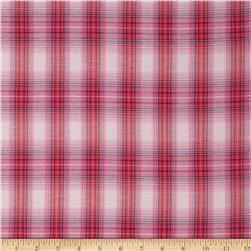 Stretch Yarn Dyed Plaid Shirting Pink/Off White Fabric