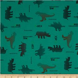 Novelty Printed Rayon Blend Jersey Knit Dinosaur Green