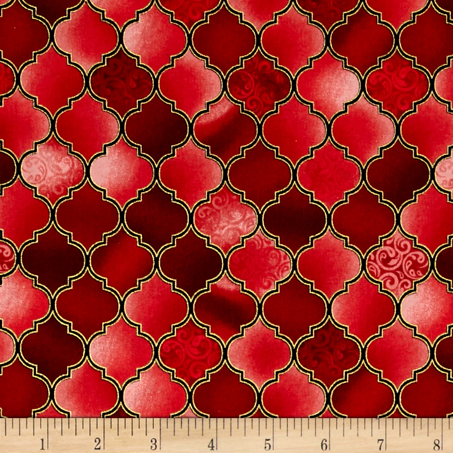 Holy Gathering Metallic Stained Glass Ruby Fabric by Quilting Treasures in USA