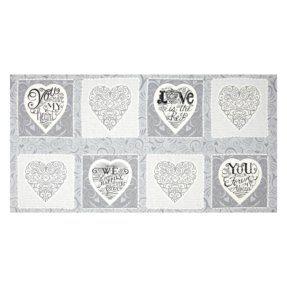 Moda Ever After 23'' Panel Gracious Grey Fabric By The Yard