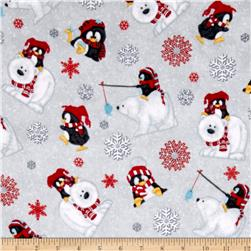 Arctic Antics Flannel Tossed Polar Bears Gray