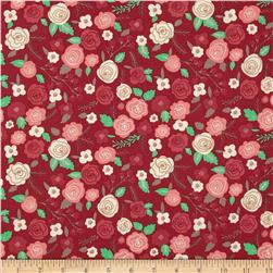 Moda Into the Woods Woodland Blooms Cranberry