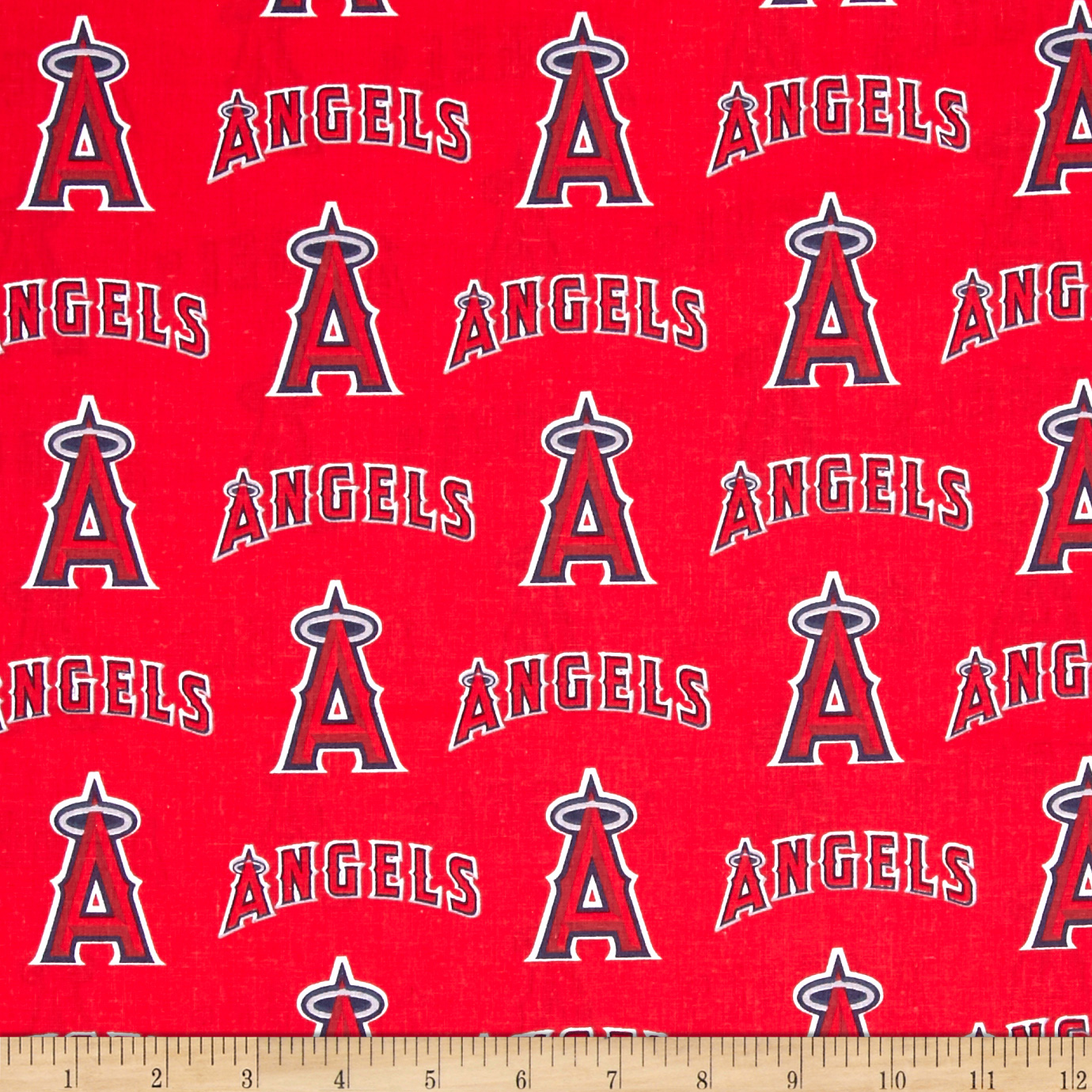 MLB Cotton Broadcloth Los Angeles Angels of Anaheim Red/Blue Fabric by Fabric Traditions in USA