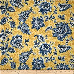 Damask Floral Jacquard Yellow/Blue