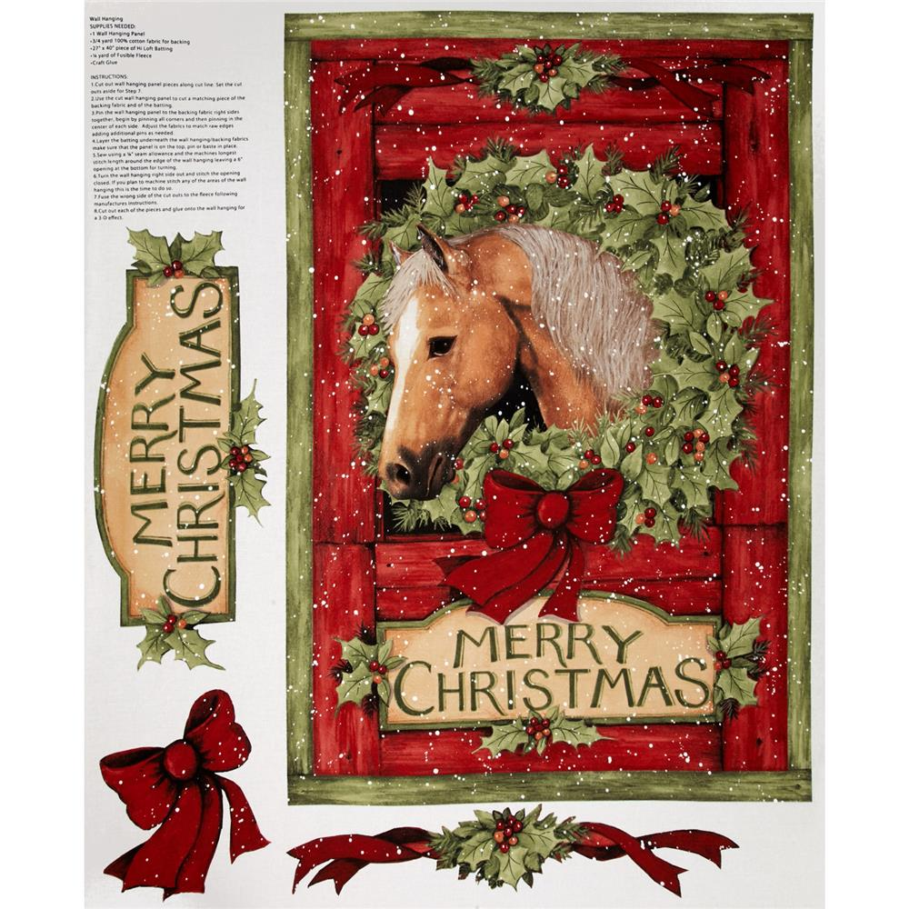 Christmas Welcome Wreath Panel Red