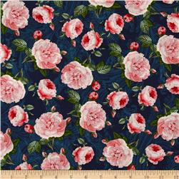 Baroque Peacock Roses Navy