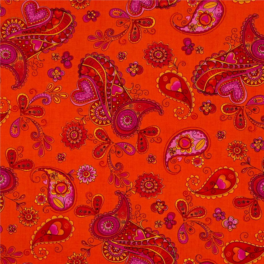 Timeless Treasures Ricki Whimsy Paisley Orange