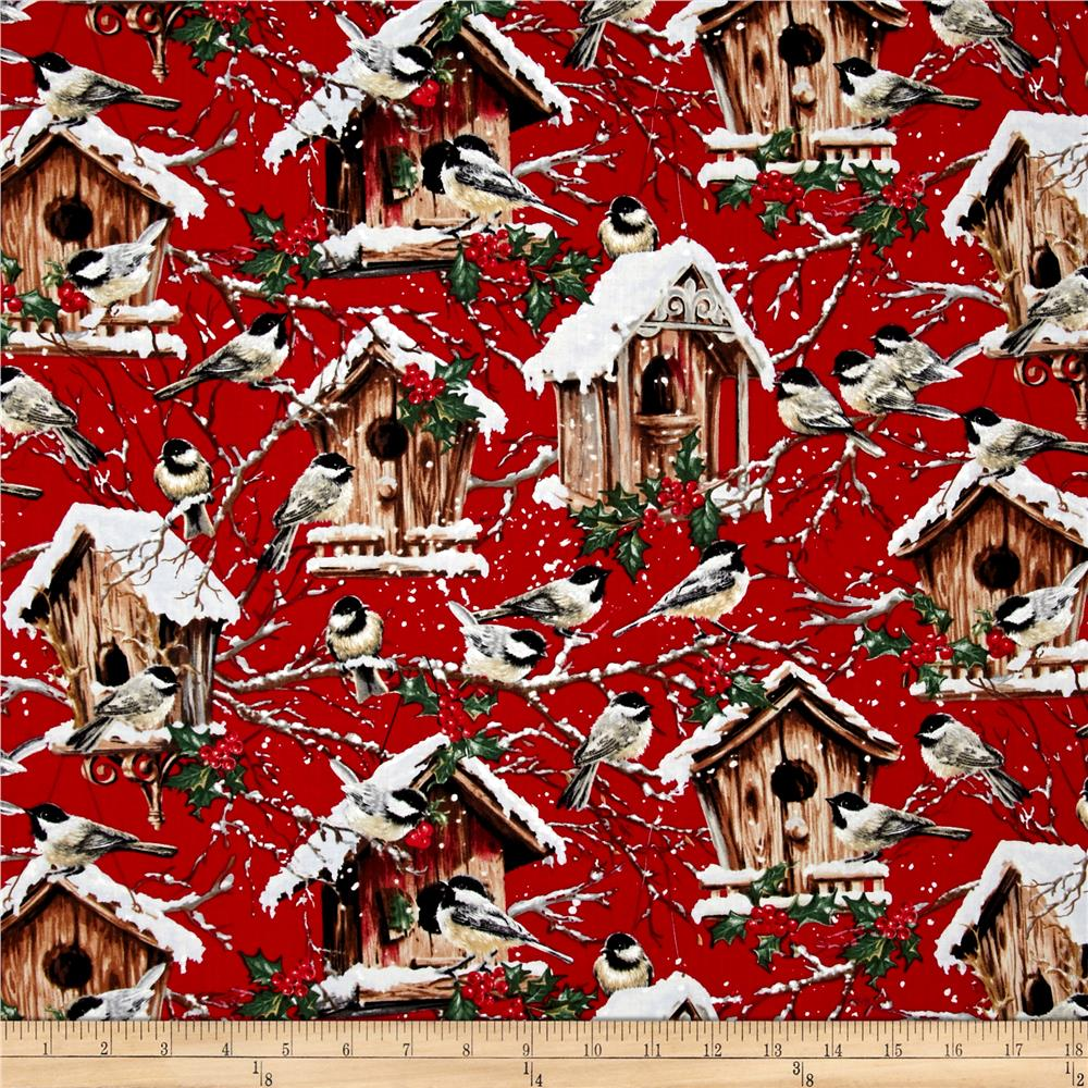 Timeless Treasures Winter Flurries Birdhouses Red