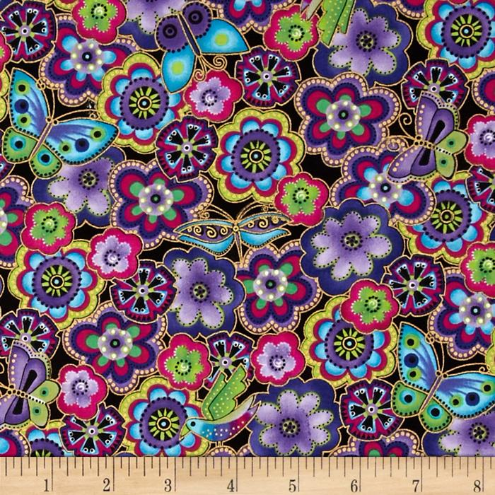 Laurel Burch Dogs & Doggies Metallic Packed Flowers Dark Purple Metallic
