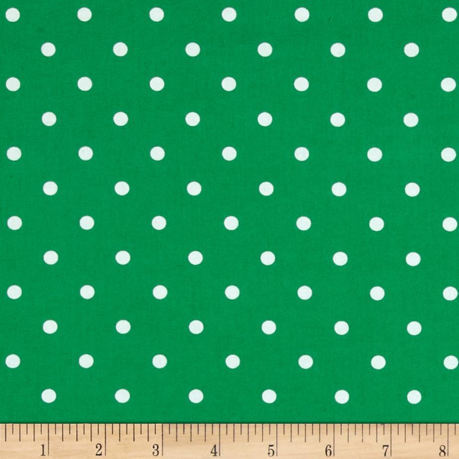 Stretch Poplin Dots Fern/White