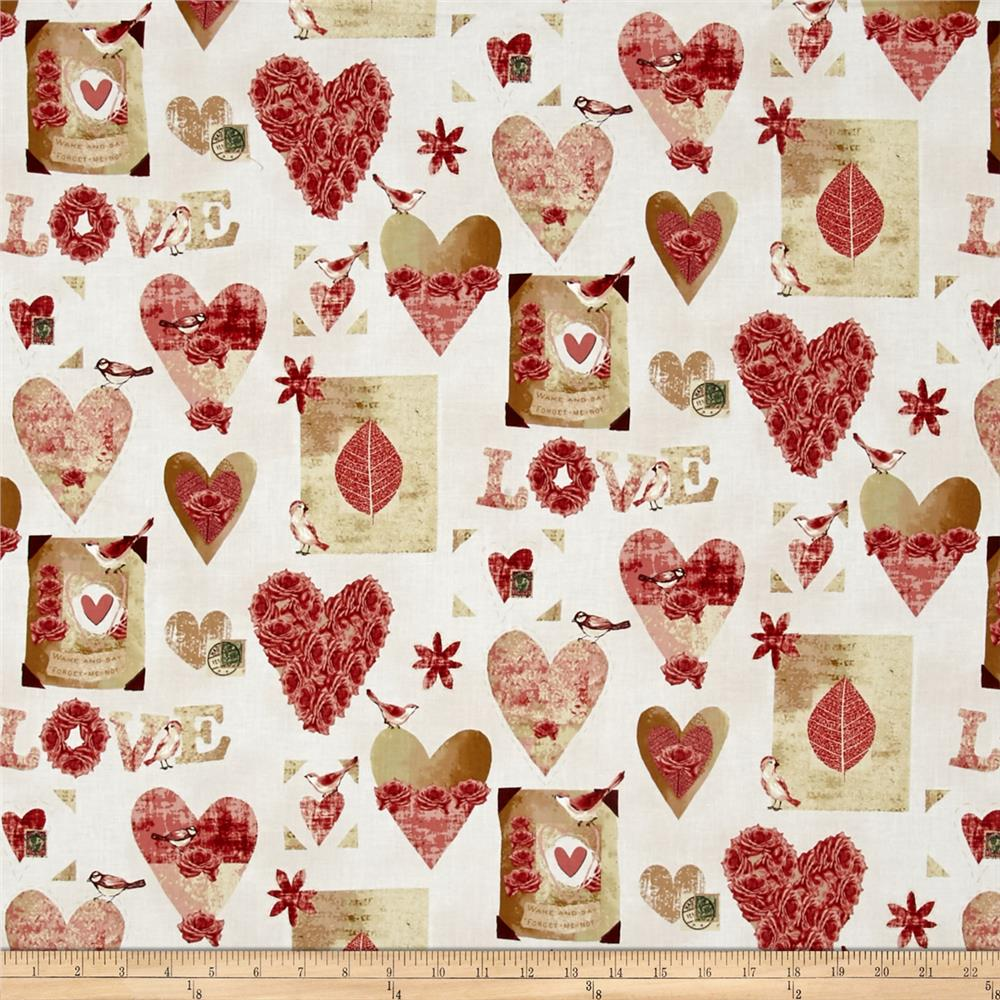 Love Birds Allover Hearts Cream/Red