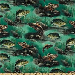 Sport Fisherman Fish Allover Green