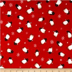 North Pole Greetings Flannel Allover Penguins Red