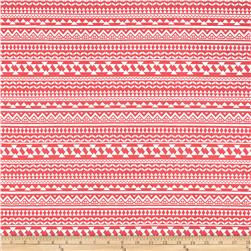 Swim Stretch ITY Jersey Knit Shapes Stripes Red/White