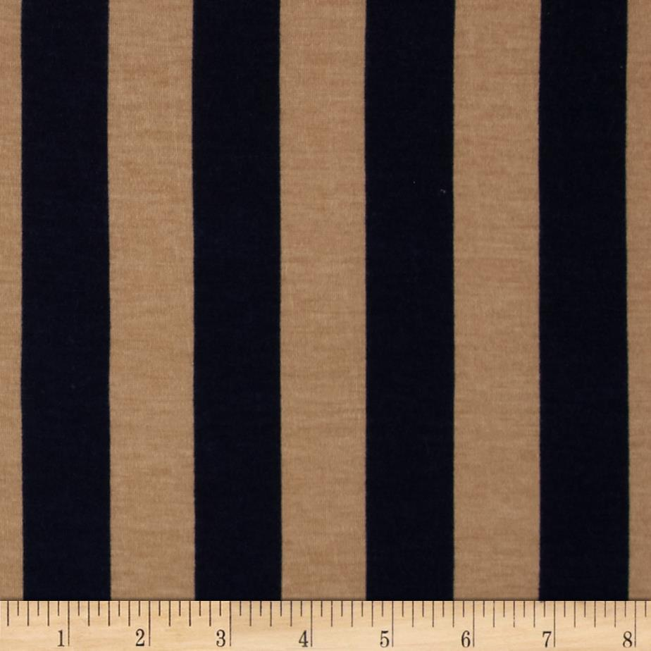 Soft Jersey Knit Mid Stripes Navy/Tan