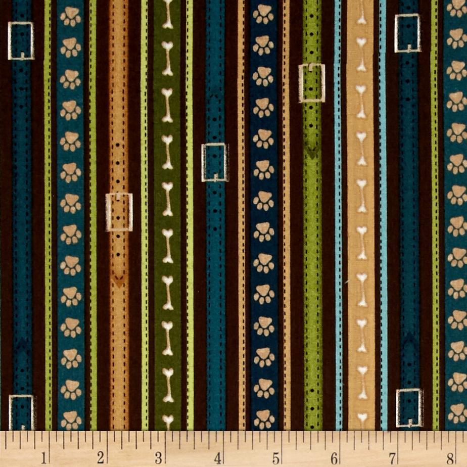 It's A Dog's Life Ticking Stripe Brown Fabric
