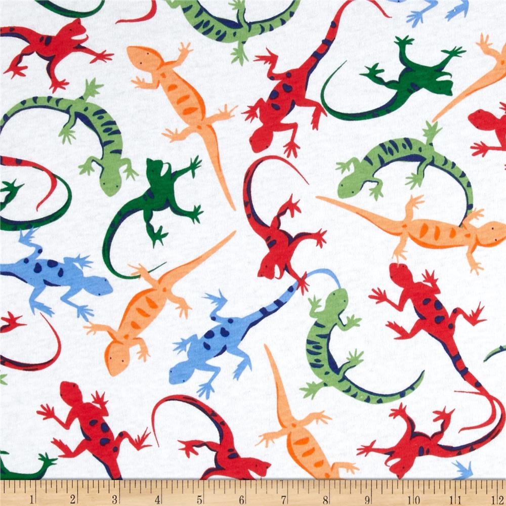 Cotton Jersey Knit Lizards Multi/White