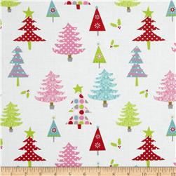 Riley Blake Christmas Basics Trees White Fabric