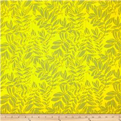 Feathers and Fancy Leaves Mustard Fabric