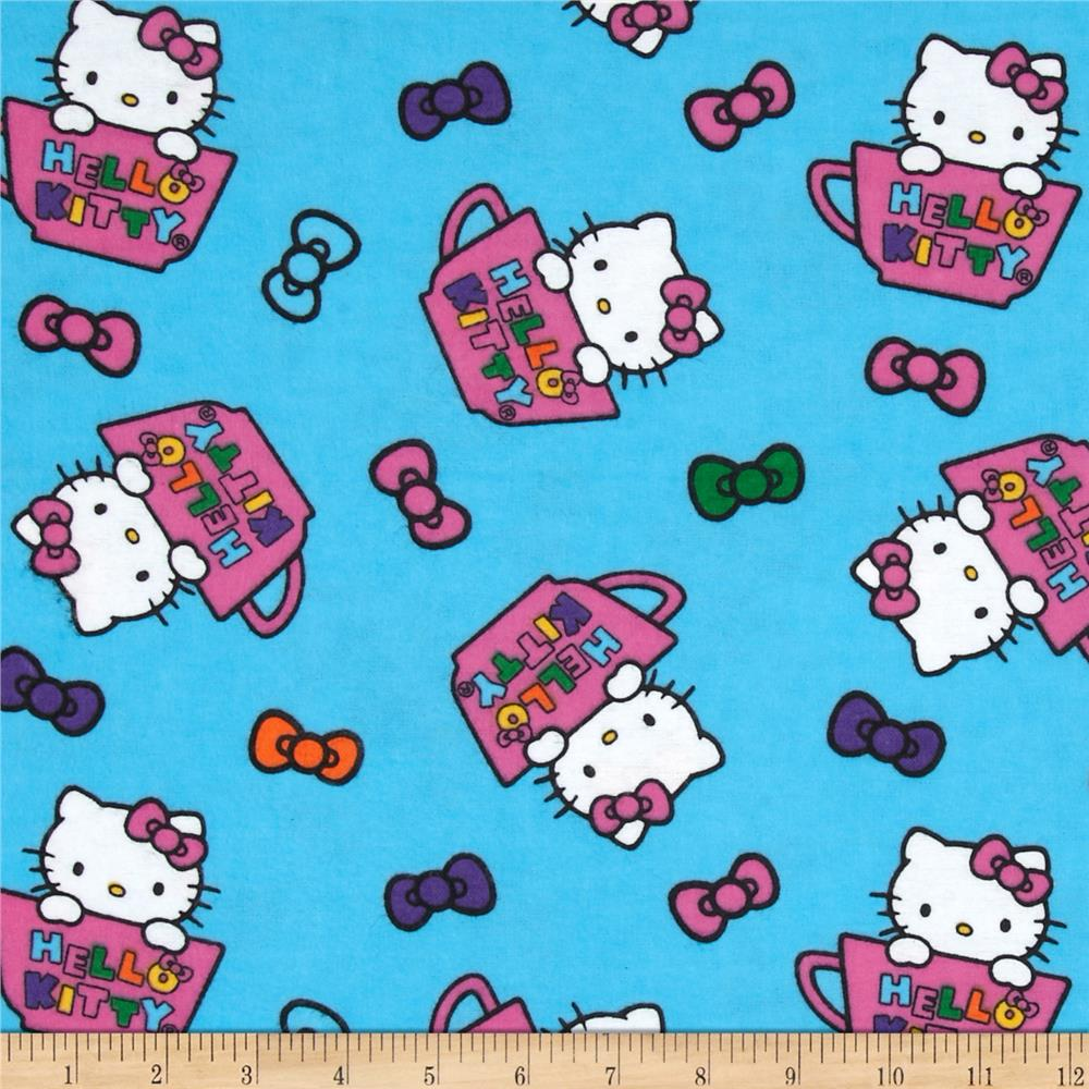 Hello Kitty Teacup Toss Flannel Blue Fabric By The Yard