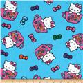 Hello Kitty Teacup Toss Flannel Blue