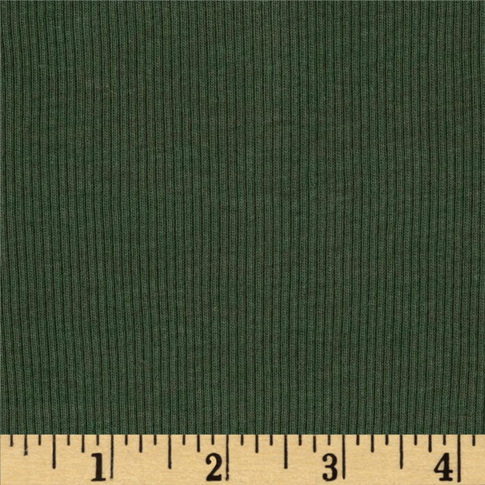 Designer Cotton Rib Knit Pine Green