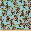 Flannel Climbing Monkeys Blue