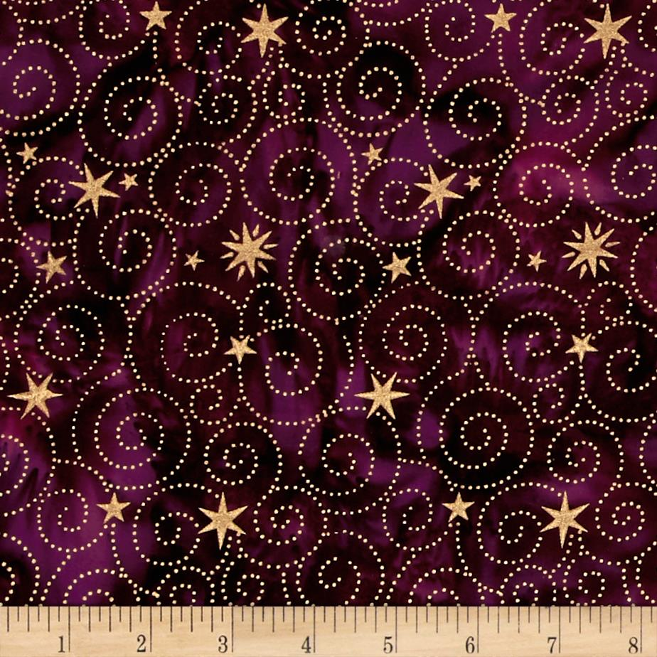 Island Batik Holiday Happenings Metallic Star Swirl Plum