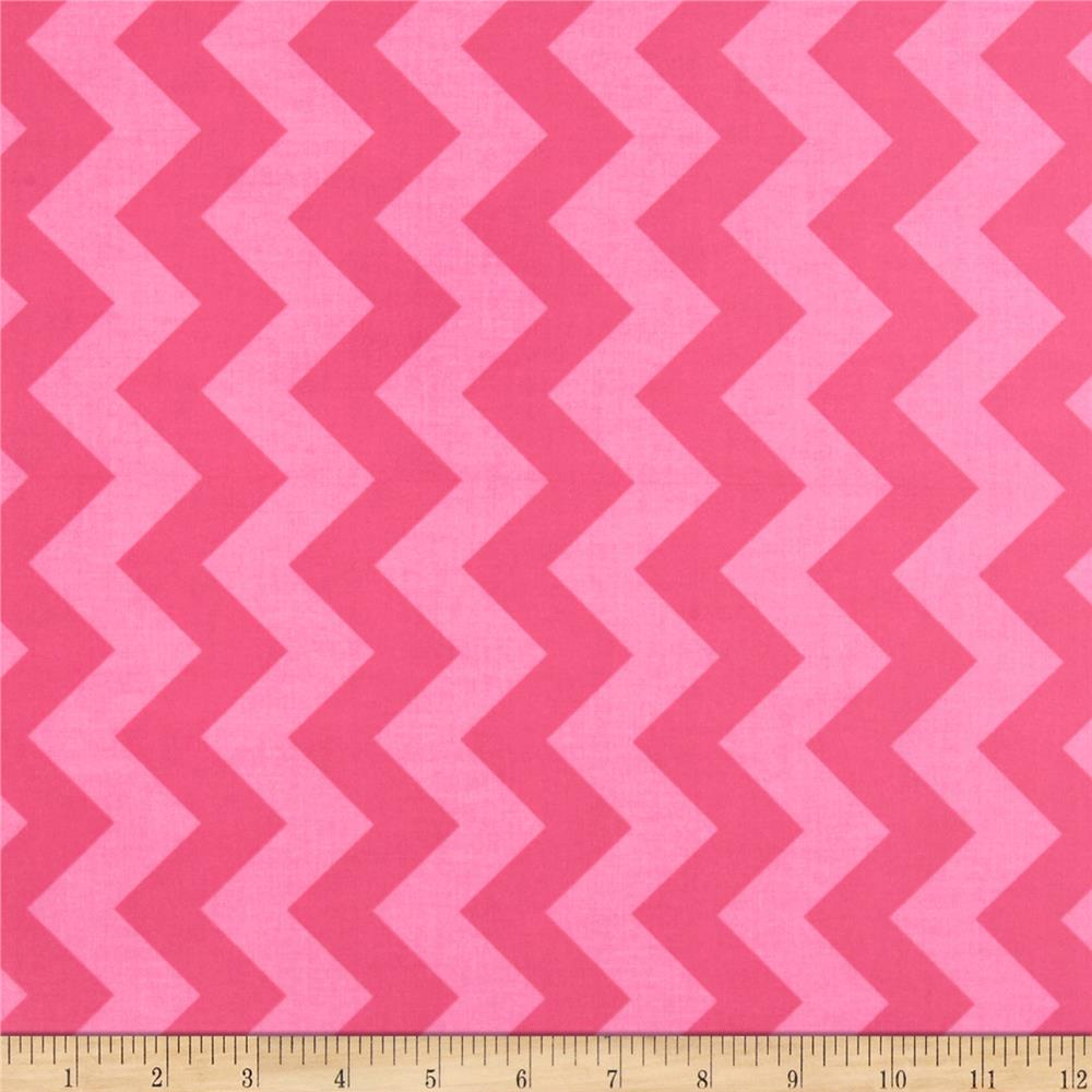 Riley Blake Laminate Medium Chevron Tone on Tone Hot Pink