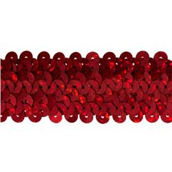 1-1/4'' Metallic Stretch Sequin Trim Red