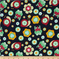 Flannel Frogs & Snails Navy Fabric