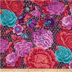 Kaffe Fassett Collective Cabbage & Roses Wine Fabric