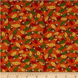 Moda Forest Fancy Acorns & Leaves Harvest Orange