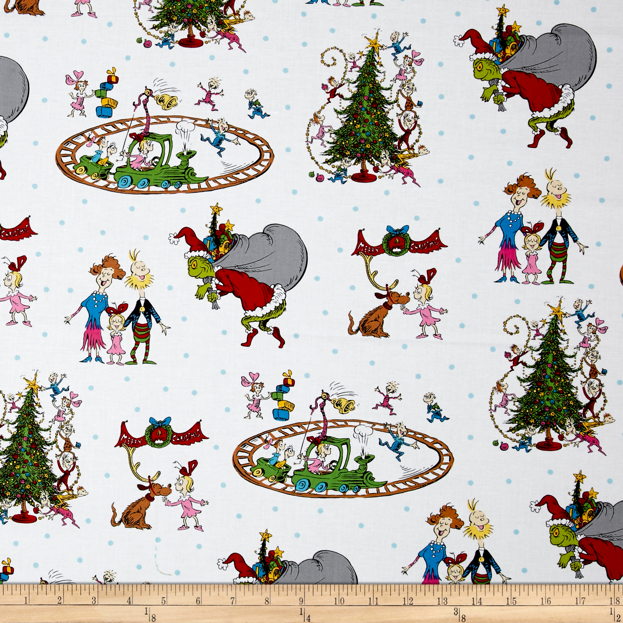 How The Grinch Stole Christmas Grinch Collage White Fabric By The Yard