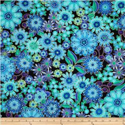 Timeless Treasures Bijoux Large Floral Metallic Peacock Fabric