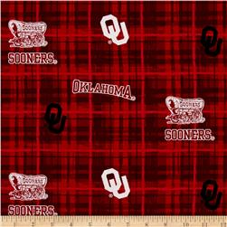 Collegiate Cotton Broadcloth University of Oklahoma Plaid Red