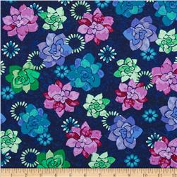 Island Breeze Floral Navy Fabric