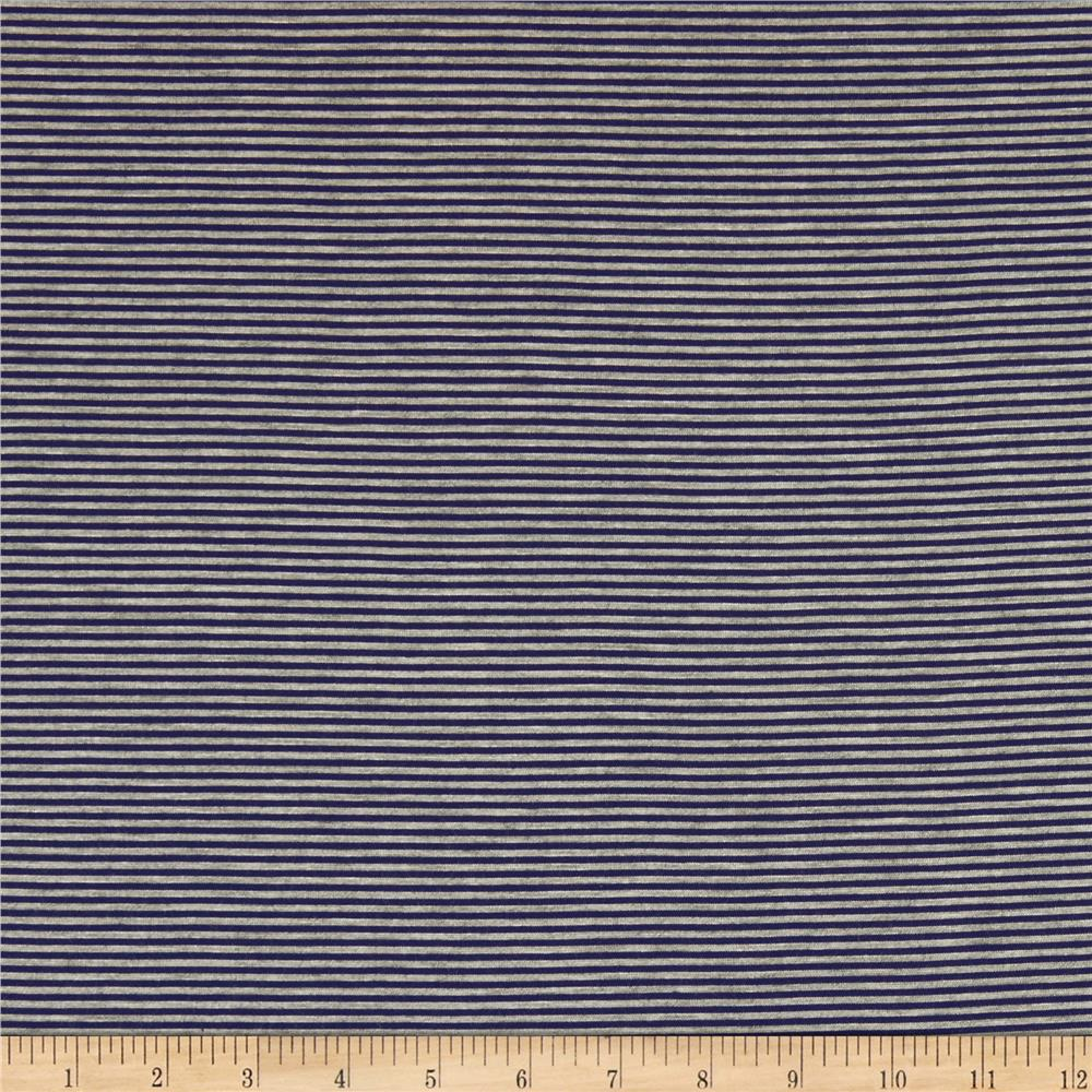 Pin Stripe Jersey Knit Heather Gray/Navy Fabric By The Yard