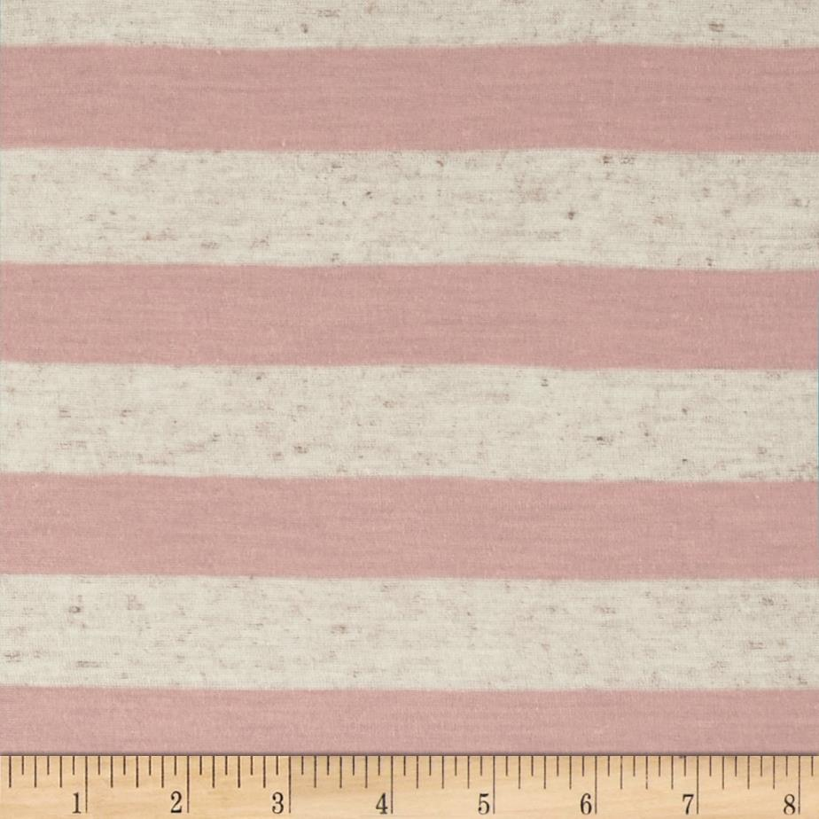 Yarn Dyed Jersey Knit Stripes Pale Pink/Oat