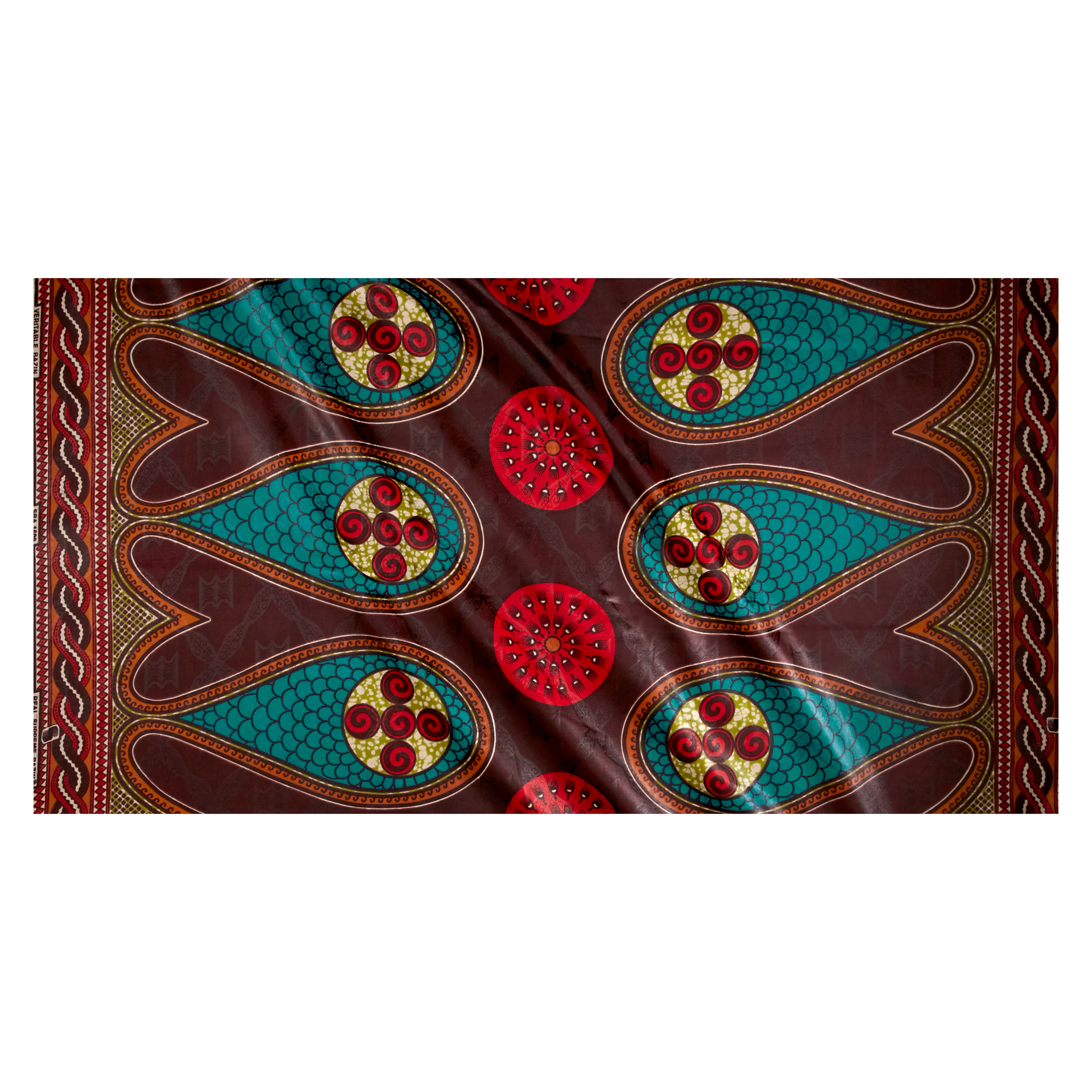 Supreme Basin African Print Broadcloth 6 Yard Brown Teal/red
