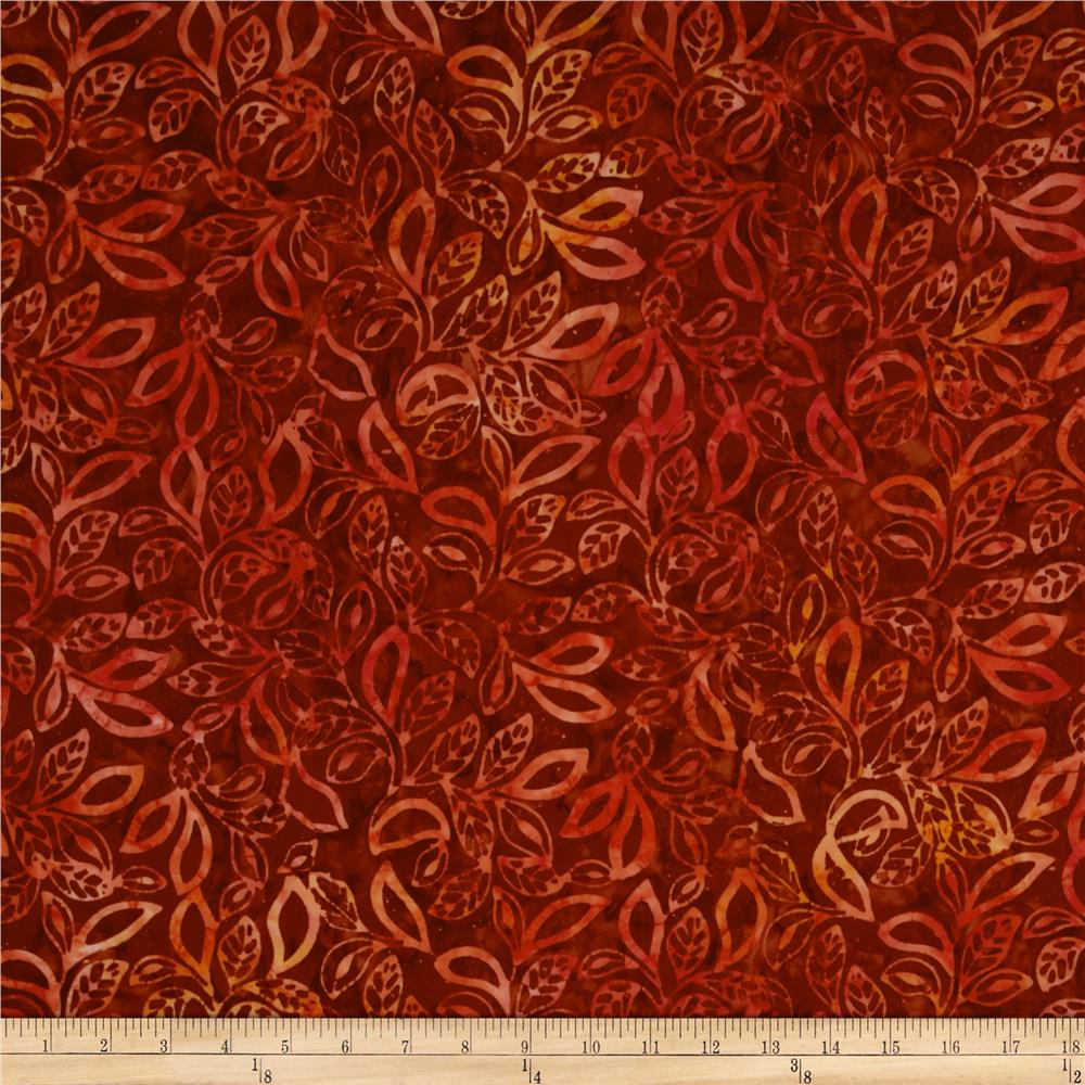 Moda Dreamcatcher Batik Leaves Sunset Burnt Orange